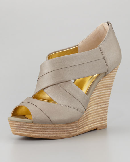 Risky Business Wedge Sandal, Taupe