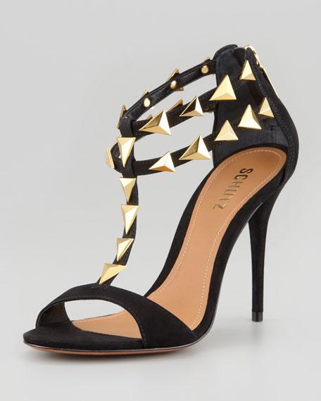 Schutz Akshya Spiked Sandal, Black/Gold