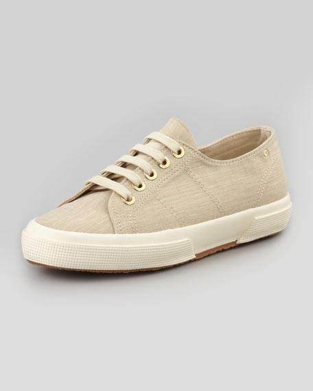 Linen Lace-Up Sneaker, Neutral