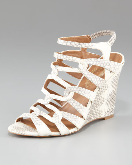 Snake-Print Strappy Wedge