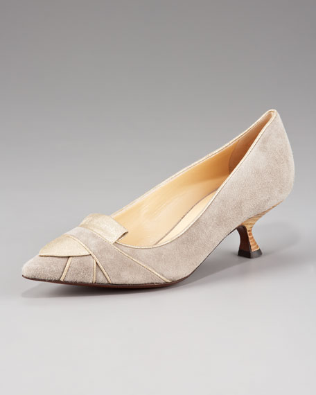 Two-Tone Suede Pointed-Toe Pump