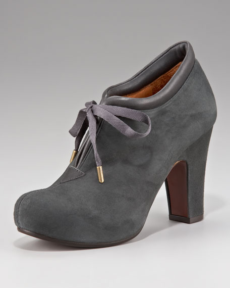 Tie-Front Ankle Boot, Gray