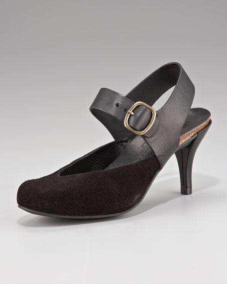 Suede/Leather Sandal Pump