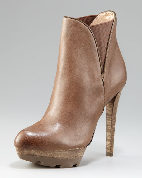 Elastic Leather Bootie