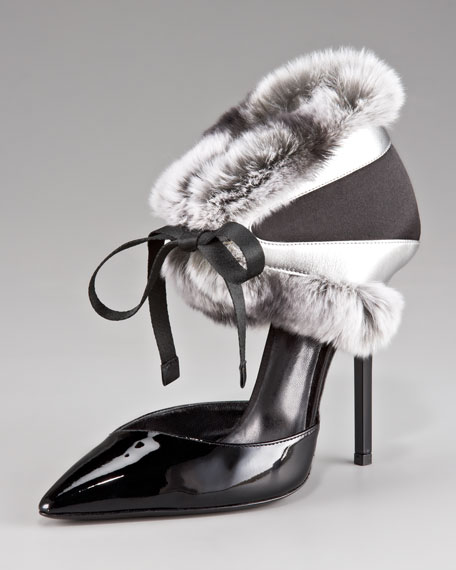 Fur-Trimmed Pump with Tie Detail
