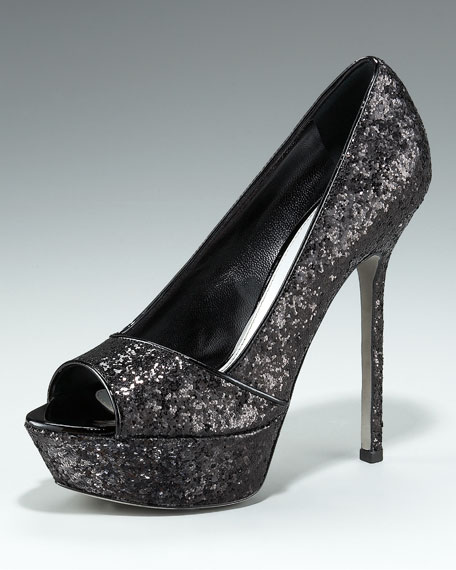 Glittered Platform Pump, Black