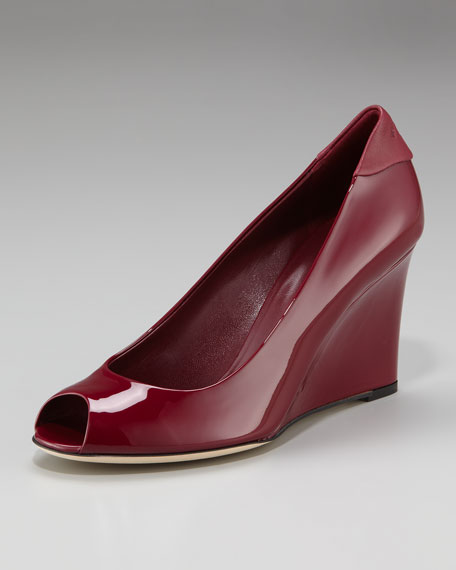 Peep-Toe Wedge, Cherry