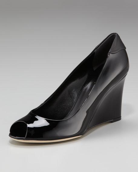 Peep-Toe Wedge, Black