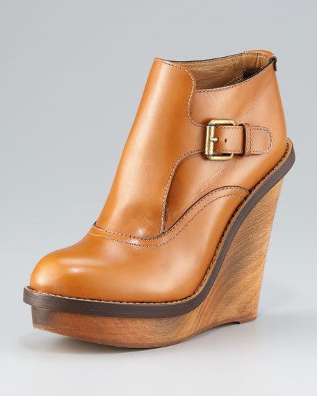 Wooden-Wedge Buckled Bootie