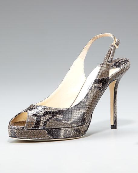 Snake-Print Slingback, Gray