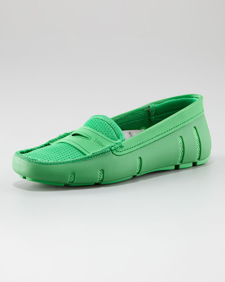 Flocked Penny Loafer, Green