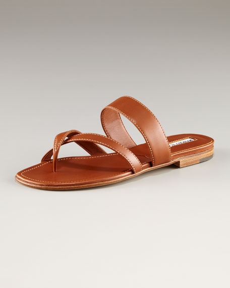 Susa Leather Flat Sandal, Tan