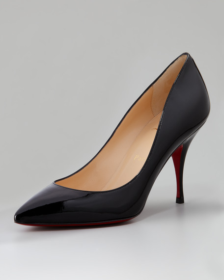 Pioupiou Patent Leather Red Sole Pump, Black