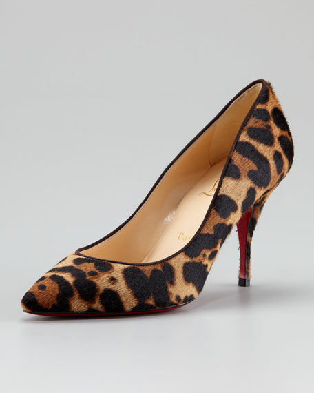 Piou Piou Leopard-Print Red Sole Pump