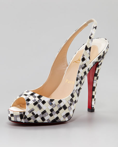 No Prive Mosaic Slingback Red Sole Pump, White/Black