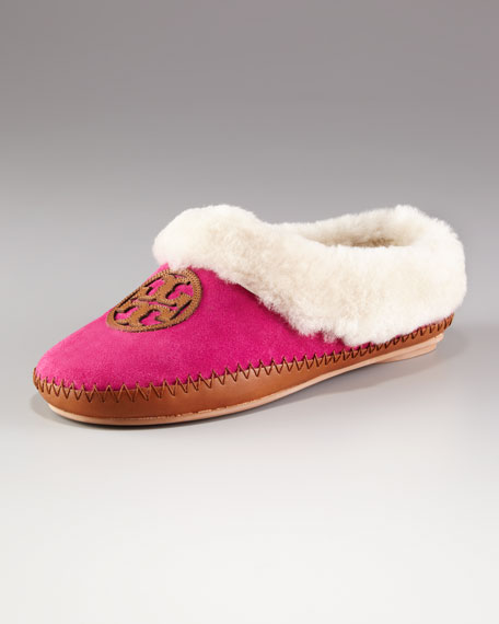 Coley Shearling Slipper, Deep Pink