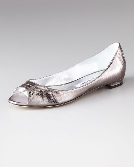 Anessa Metallic Leather Flat