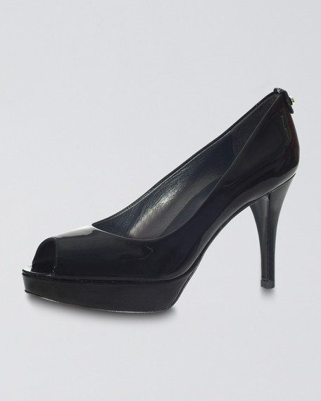 Peep-Toe Platform Pump, Black
