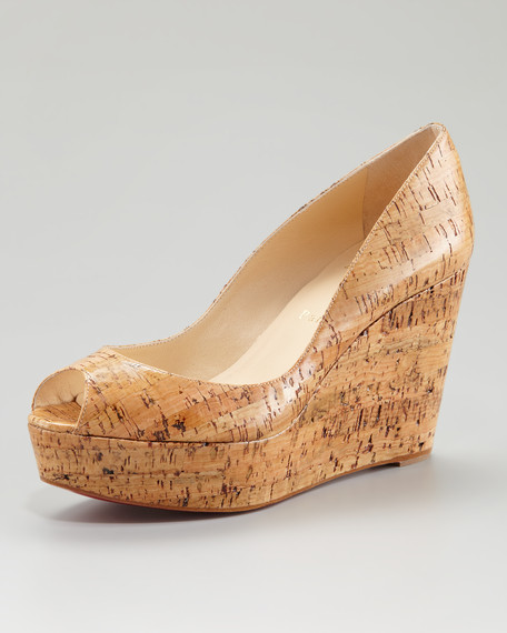 Christian Louboutin Une Plume Coated Cork Platform Red Sole Wedge