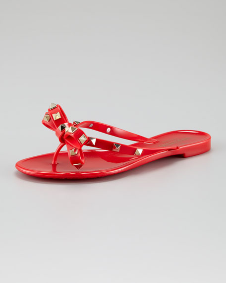 Rockstud Metallic Bow Jelly, Red
