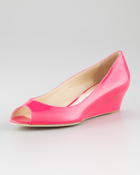 Bergen Peep-Toe Wedge, Fuchsia