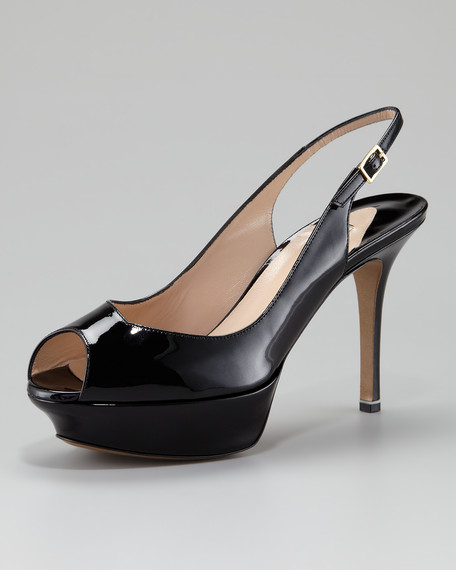 Patent Leather Platform Slingback Pump, Black