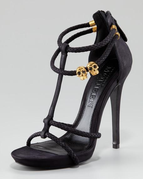 Skull-Detail T-Strap Sandal