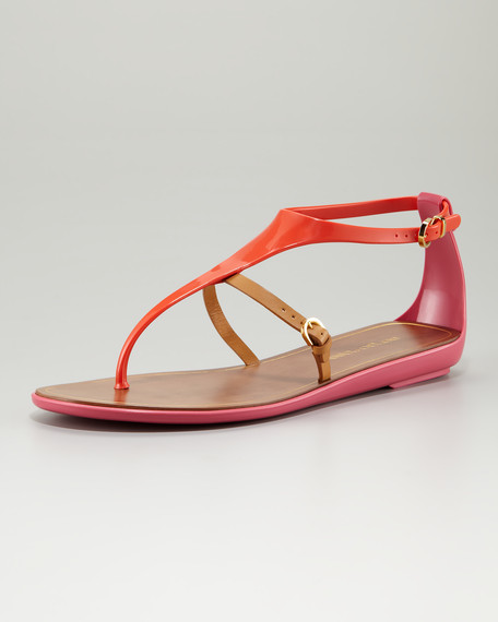 Jelly T-Strap Sandal, Bubble Gum/Orange