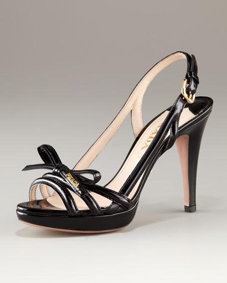 Platform Patent Multi Strap Sandal With Bow