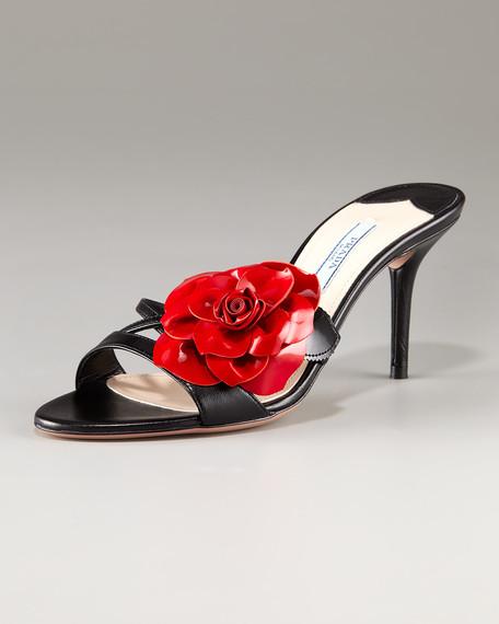 Patent Leather Flower Slide