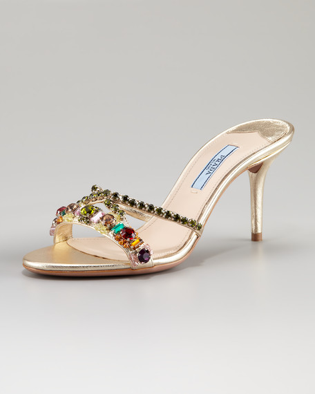 Leather Bejeweled Slide