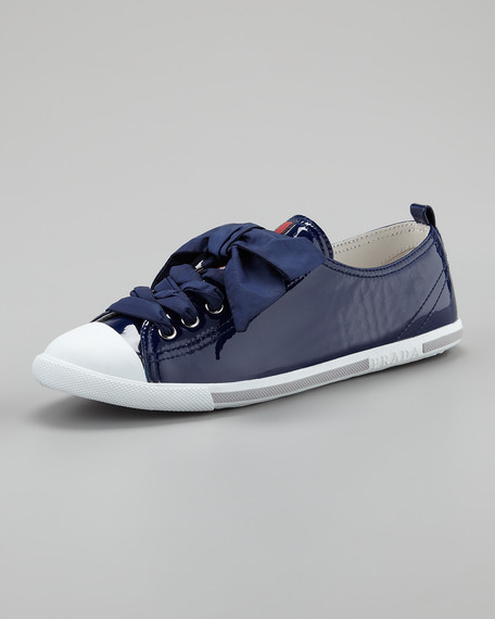 Low-Top Patent Leather Sneaker, Navy