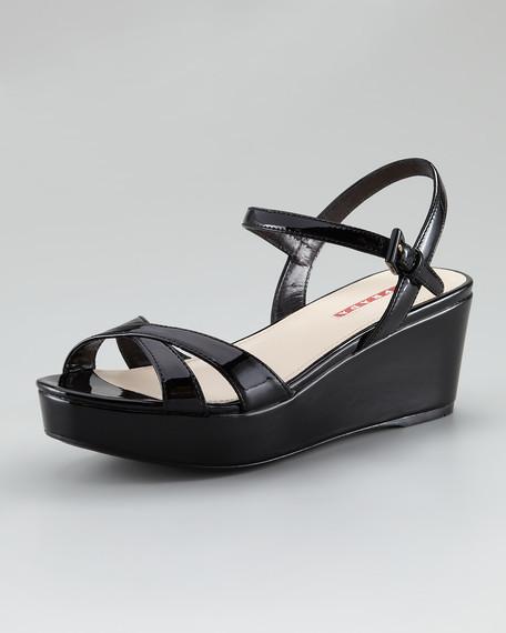 Patent Leather Platform Wedge Sandal