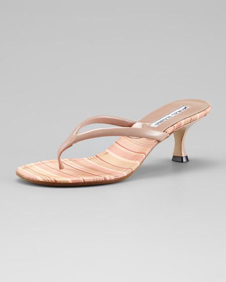 Paterno Striped Thong Slide, Pink