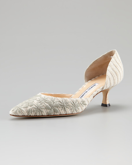 Carolyndo Floral-Embroidered d'Orsay Pump