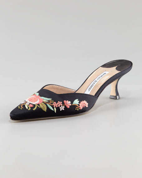 Zulira Floral-Embroidered Mule