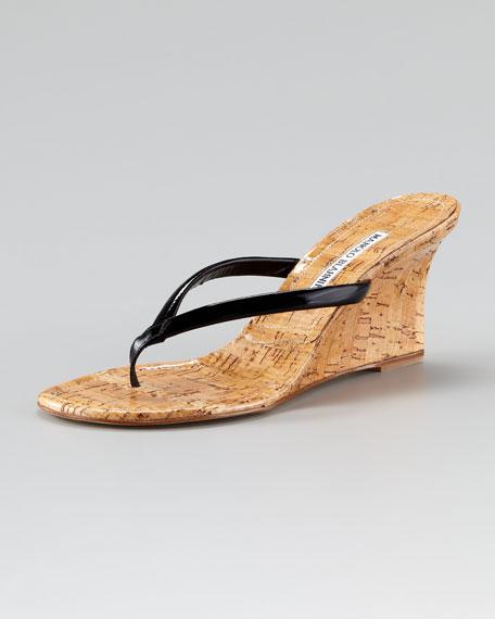 Patwedge Cork Sandal, Black