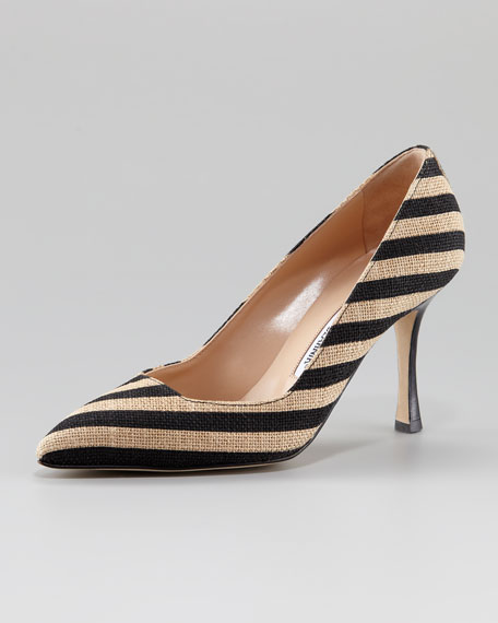 Pamuk Striped Linen Pump