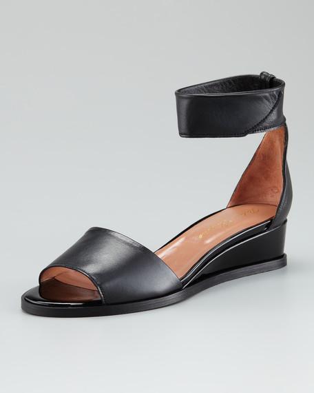 Wrap-Ankle Patent-Matte Leather Sandal
