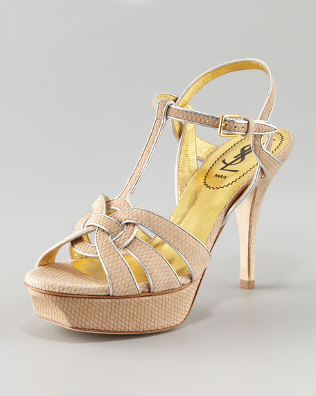 Tribute Metallic-Trim Sandal, White/Silver