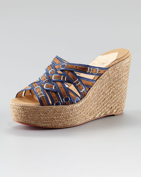 Crepon Buckle-Print Red Sole Ribbon Espadrille