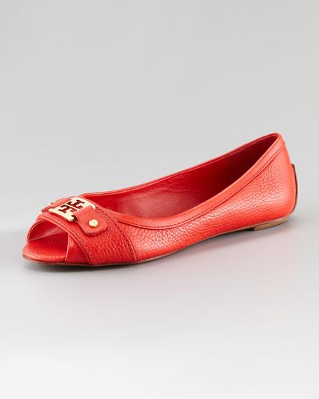 Clines Open-Toe Ballet Flat, Scarlet Red