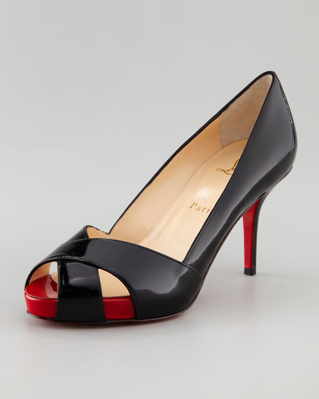 Shelley Peep-Toe Red Sole Pump, Black/Red