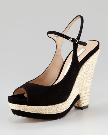 Open-Toe Mary Jane Jute Wedge