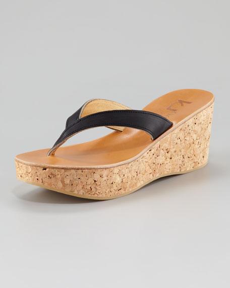 Diorite Cork Wedge Sandal, Black
