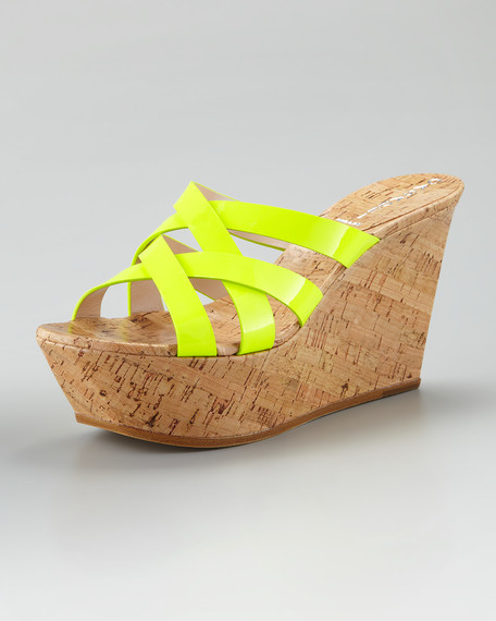 Crisscross Patent Leather Cork Sandal, Neon Yellow