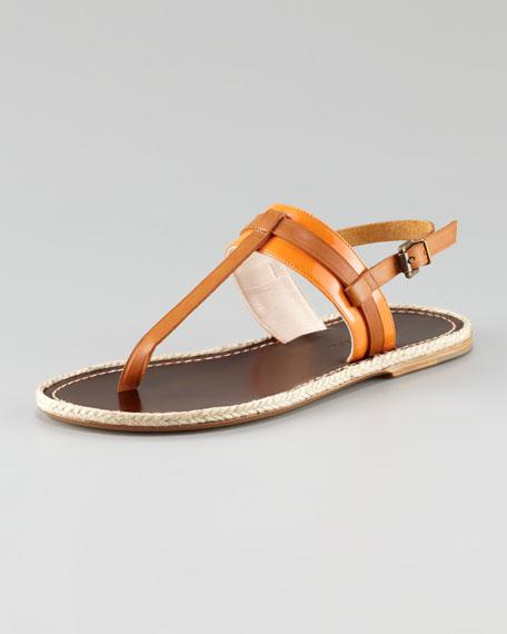 Patent-Matte Leather Espadrille Flat, Orange