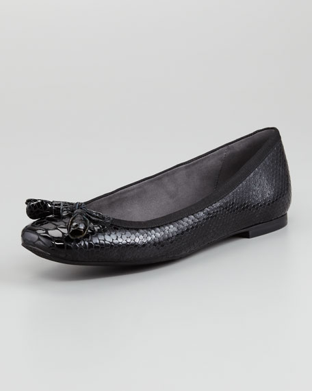 Tulip Bow Snake-Embossed Flat, Black
