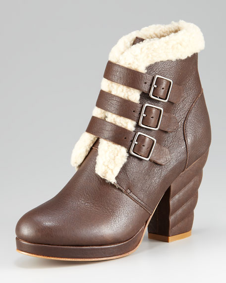 Shearling Buckle Bootie