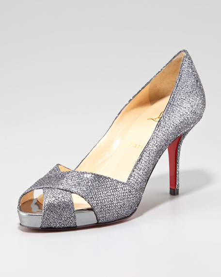 Shelly Shimmer Red Sole Pump, Silver